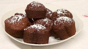 Vegane Muffins Schoko und Puderzucker